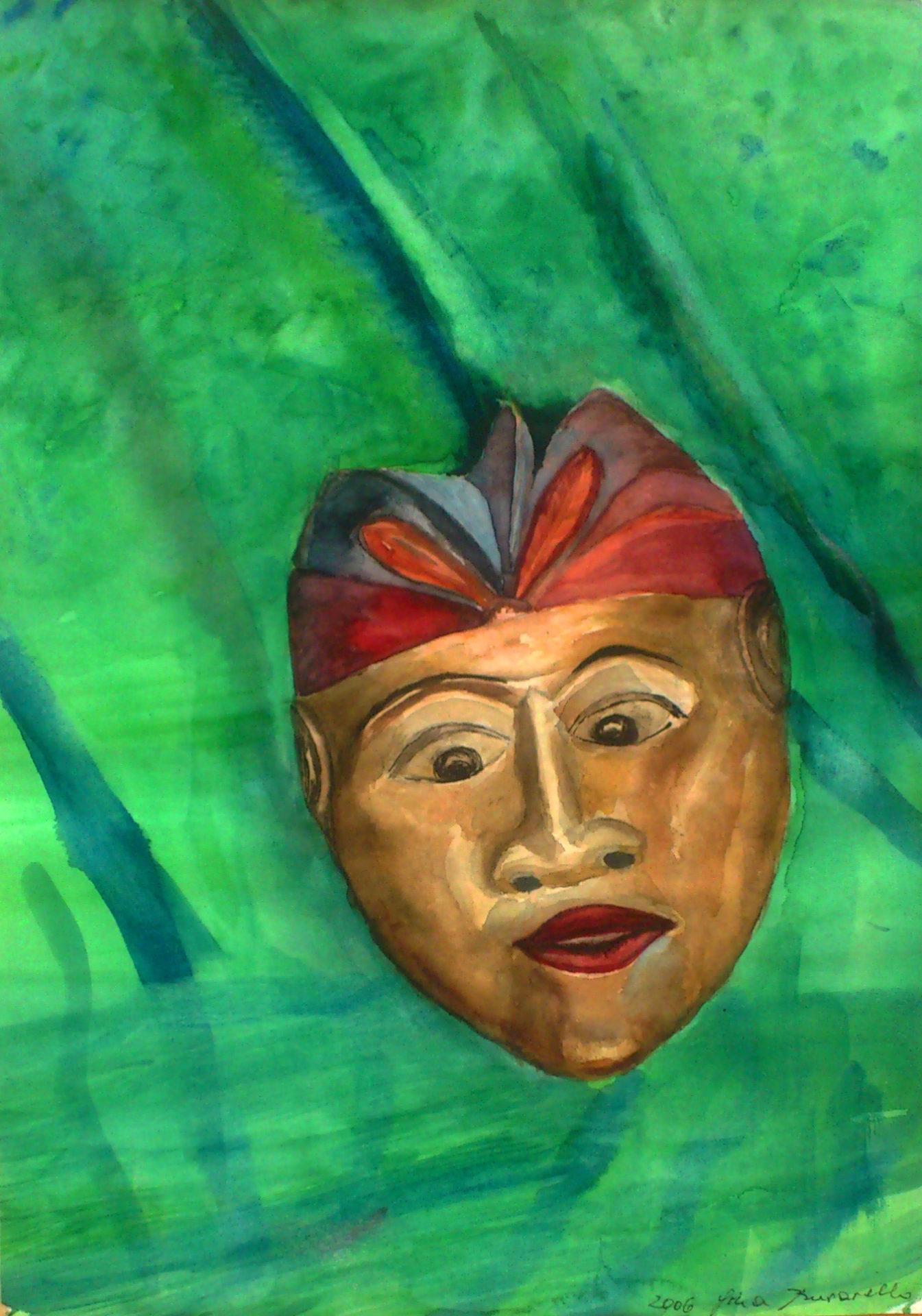 indische Maske 47x35cm Aquarell