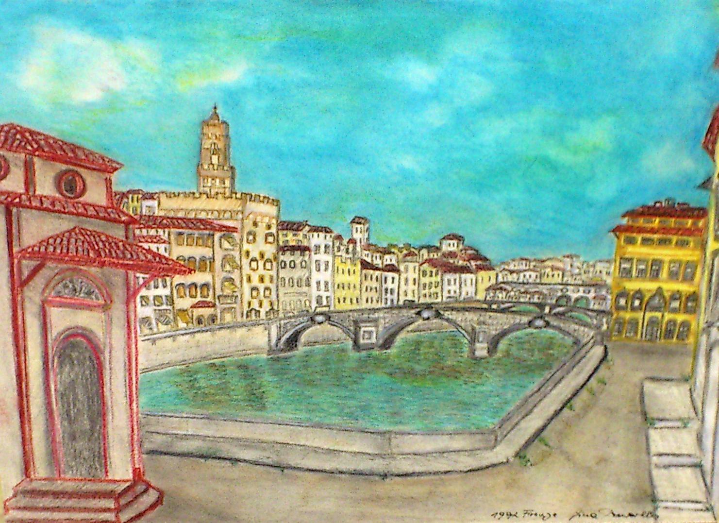 Florenz am Arno 49x35 cm Pastellkreidezeichnung
