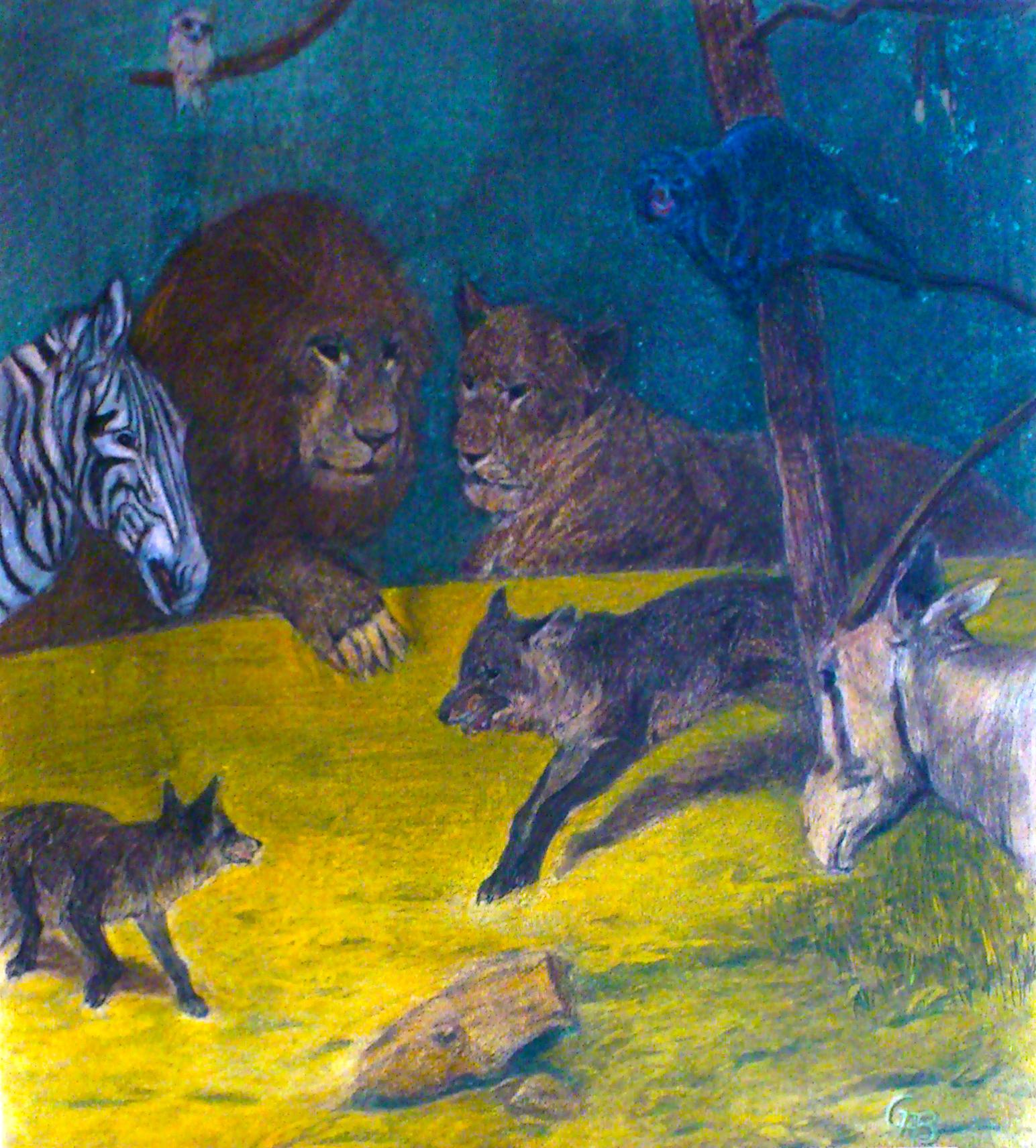 Tiere im Naturhistorischen Museum Wien 36x33 cm Pastellkreide
